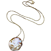Huge 25mm Keishi Keshi Pearl Pendant-14k Solid Gold Simply Elegant Necklace