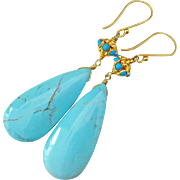Genuine Kingman Arizona Turquoise-18k Solid Gold Dangle Earrings