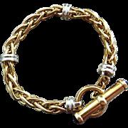 Heavy 22.2g-14k Yellow White Gold Wheat Rope Vintage Black Onyx Toggle Bracelet