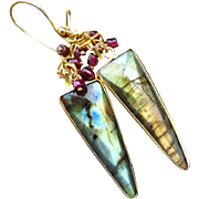 Fire Labradorite-Garnet-18k Gold Vermeil-Geometric Charm-Spear-Sterling Silver-Bezel Dangle ..