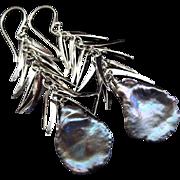 Keishi Keshi Petal Pearl-Sterling Silver Tendril Dangle Earrings