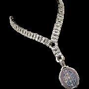Antique Victorian Sterling Silver Book Chain Collar Bookchain-Gold Overlay  English Hallmarks