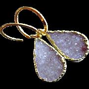 Exceptional Untreated Drusy Druzy Gold Vermeil Hoop Earrings