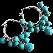 Natural Turquoise-Sterling Silver-Hoops Chandelier Earrings