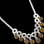 Exceptional Unique Cognac Quartz Multi Briolette-Fresh Water Pearls-Sterling Silver Hoops ...