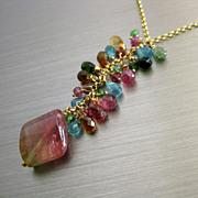SOLD Magnificent~Natural BiColor Pink Green Tourmaline 18ct Pendant~Paraiba Blue Tourmaline~Ts