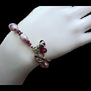 Gem Rhodolite Garnet-Rosy Fresh Water Pearls-Bali Handmade Silver Toggle Bracelet-Blossom Char