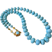 SALE AAA Rare Larimar~Apatite~Solid 22k 18k Gold Necklace with Larimar Clasp~