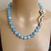 """12mm NATURAL Aquamarine Spheres~March Birthstone~3"""" Sterling Rose Clasp Hand Knotted Neck"""