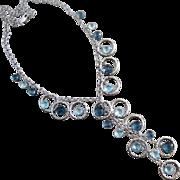 London Blue~Sky Blue Topaz~14k White Gold Hoops~Cascading Gems Necklace~