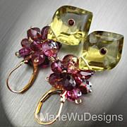 SALE Pink Topaz~Ruby~pink Tourmaline~Rhodolite Garnet~Unique Lemon Quartz~14k Gold Leverback E