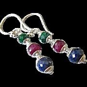 SOLD Precious Gems~Emerald~Ruby~Sapphire~Sterling silver Dangle Earrings~