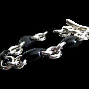 SALE Unique Black Onyx Marquise-Sterling Silver Contemporary Bracelet
