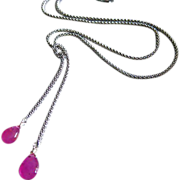 SALE Hot Pink-Natural Gel Pink Sapphire-Sterling Silver Lariat Necklace