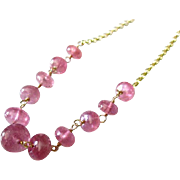 SALE 23ct Jelly Pink Natural Translucent Sapphire-14k Gold Necklace