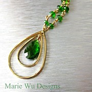 SOLD 2.3ct Chrome Diopside-14k Gold Pendant Necklace