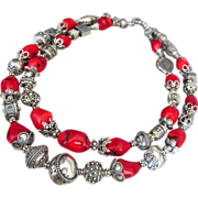 SALE Bold-Bamboo Coral-Balinese Handmade Silver-2 Strand Necklace