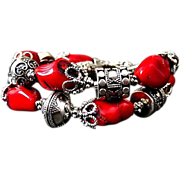 SOLD Bold-Bamboo Coral-Balinese Silver-2 Strand Toggle Bracelet