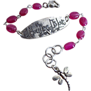 Jelly Pink Sapphire-Love Script-Sterling Silver-September Birthstone-Adjustable Bracelet with