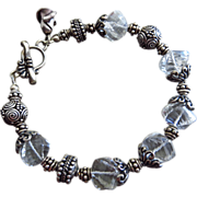 SALE Crystal Quartz Spirals-Ornate Bali Silver Toggle Bracelet with Rosebud Charm