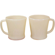 2 Vintage Ivory D- Handle Flat Bottom Mugs Fire King Anchor Hocking