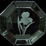 Unusual Arcoroc Octime Black Glass Platter w/ Cut Iris Design