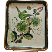 Vintage Ken Edwards Tonala Mexico Pottery Rare Green Birds w/Cobalt trim