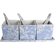 Bennington Potteries Spatter 7 Pc Condiment Set w/Spoons & Tray Morning Glory Blue Spongeware