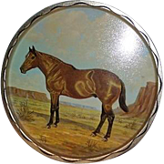 1966 Jeanne Mellin Signed Horse Metal Kitchen / Bar Serving Tray Equestrian