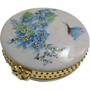 Forget Me Nots and Butterflies Hand Painted Trinket/Pill Box Casket Artist Signed
