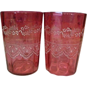 2 Victorian Glass Tumblers Enameled Cranberry Glass Painted