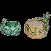 2 Frog Planters Mccoy Pottery and Majolica