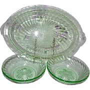Green Florescent Depression Glass Platter & Bowls Swirl / Spiral