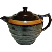 4 cup Brown Teapot Made in England Mirror / Rockingham Glaze USA Patent