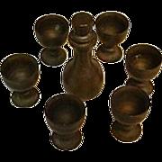 Vintage Dollhouse Decanter & Goblets in Brass
