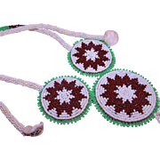 Southwestern Native Glass Seed Bead Necklace Cream, Brown & Green w/ Buckskin