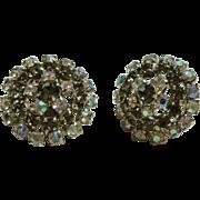 Gorgeous Smoke & Aurora Borealis AB Rhinestone Clip Earrings