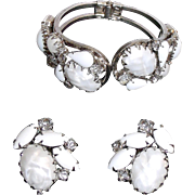 White Juliana Milk Glass, Rhinestone & Acrylic Hinged Bracelet & Earrings Set