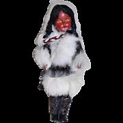 Inuit Eskimo Souvenir Doll w/ Real Fur & Infant / Cradle board