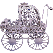 Adorable Fancy Wire Baby Pram / Stroller / Carriage Dollhouse