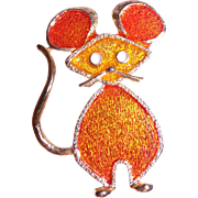 Lind-Gal Enameled Mouse Pin Gold-tone and Orange
