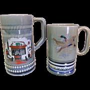 "2 Wade Irish Porcelain Musical / Music Box Mugs ""When Irish Eyes are Smiling"""