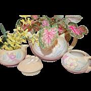 Perfect Planter Pieces! Hull Magnolia Teapot, Sugar & Creamer Pink/Yellow
