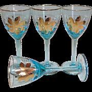 Mid Century Venetian Murano Blue Art Glass/Gold Trim Wine Goblet Set