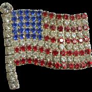 Rhinestones Sparkling Like Fireworks  Vintage American Flag Pin