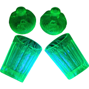 2 Anchor Hocking Pillar Optic Green Depression Whiskey Shot Glasses