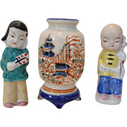 3 pc Miniatures Japanese Boy & Girl - Detailed Vase Novelties