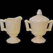 Shell Pink Milk Glass Jeannette Glass Cream & Sugar Baltimore Pear