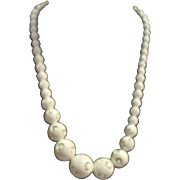 Unusual Carved Bead Necklace Mid-Century Puzzle Ball
