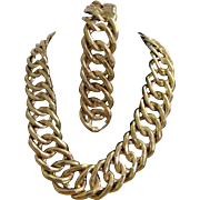 Large yet Lightweight Link Chunky Gold Tone Chain Necklace & Earrings set